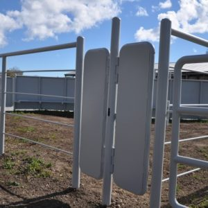 Double 18-inch man gates in cattle alley leading to the wide curved lane