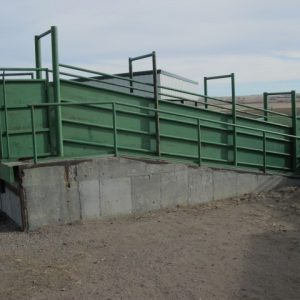 The solid sides and level dock on this ramp minimize stress for cattle
