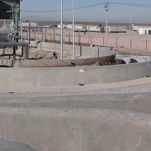 A raised concrete handler platform