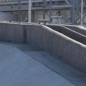 Concrete walls make this double single file chute system